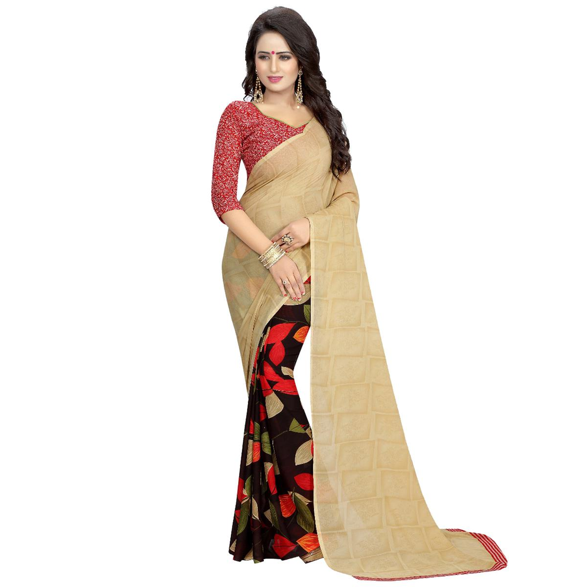 Beige-Black Casual Wear Printed Half And Half Georgette Saree