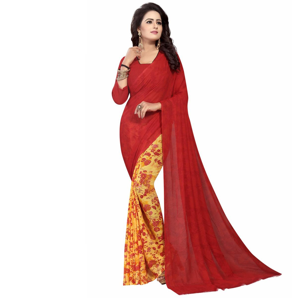 Red-Yellow Casual Wear Printed Half And Half Georgette Saree