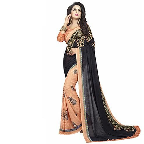 Black-Peach Casual Wear Printed Half And Half Georgette Saree