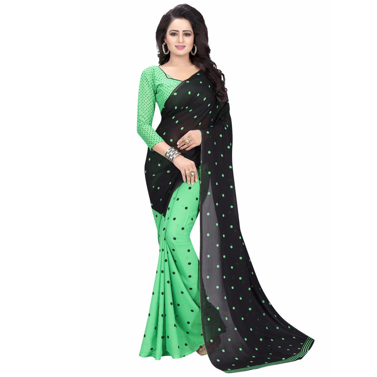 Black-Green Casual Wear Printed Half And Half Georgette Saree