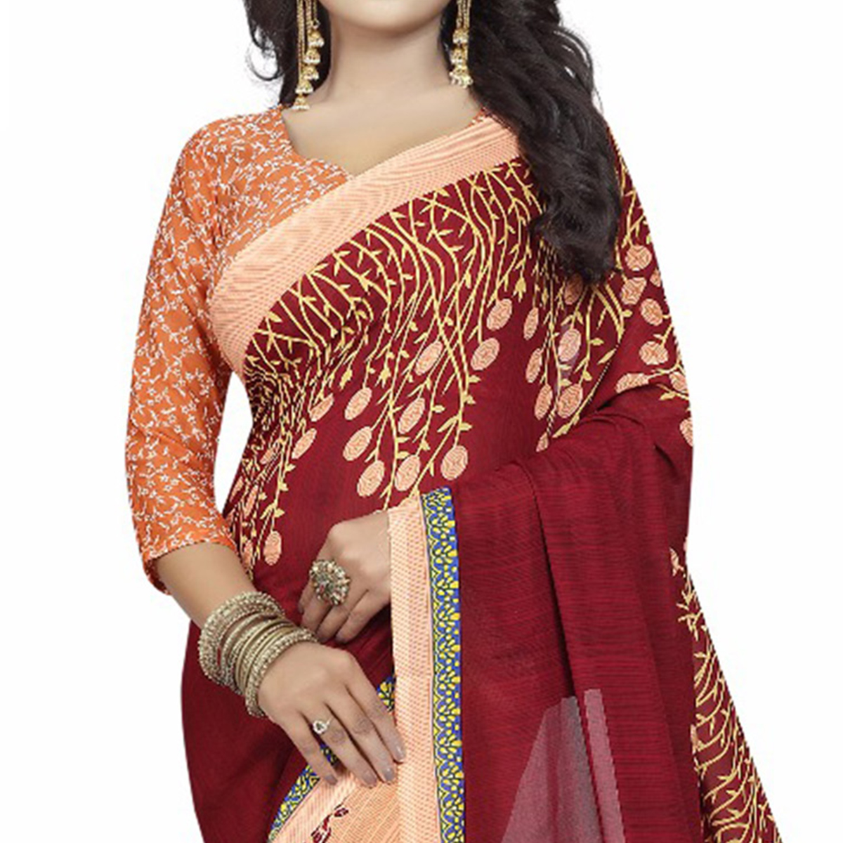 Maroon-Peach Casual Wear Printed Half And Half Georgette Saree