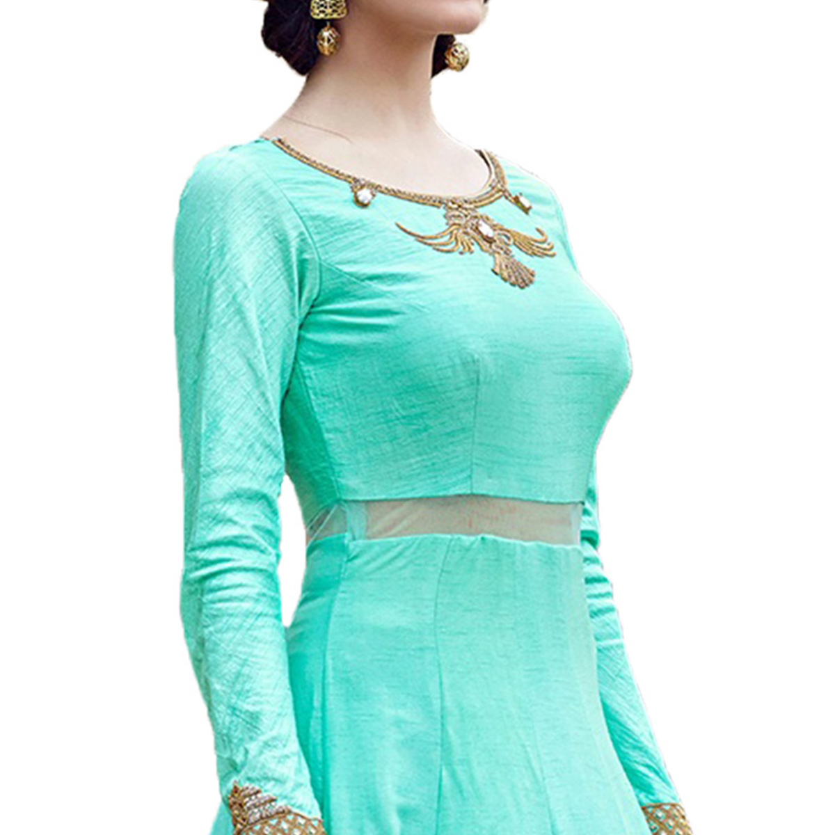 Dazzling Aqua Green Designer Partywear Hand Embroidered And Printed Senorita (Art Silk) Gown