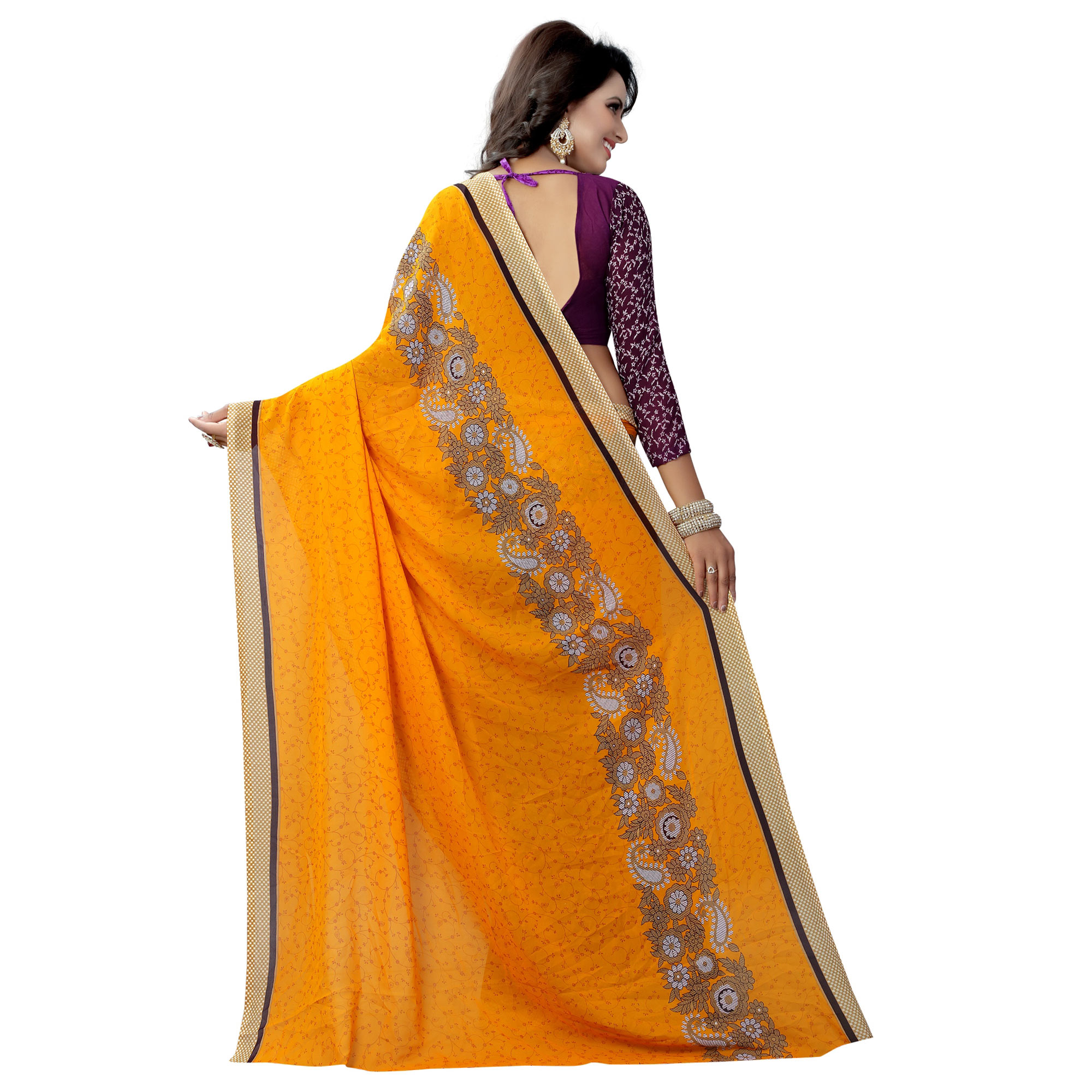 Yellow-Purple Casual Wear Printed Half And Half Georgette Saree