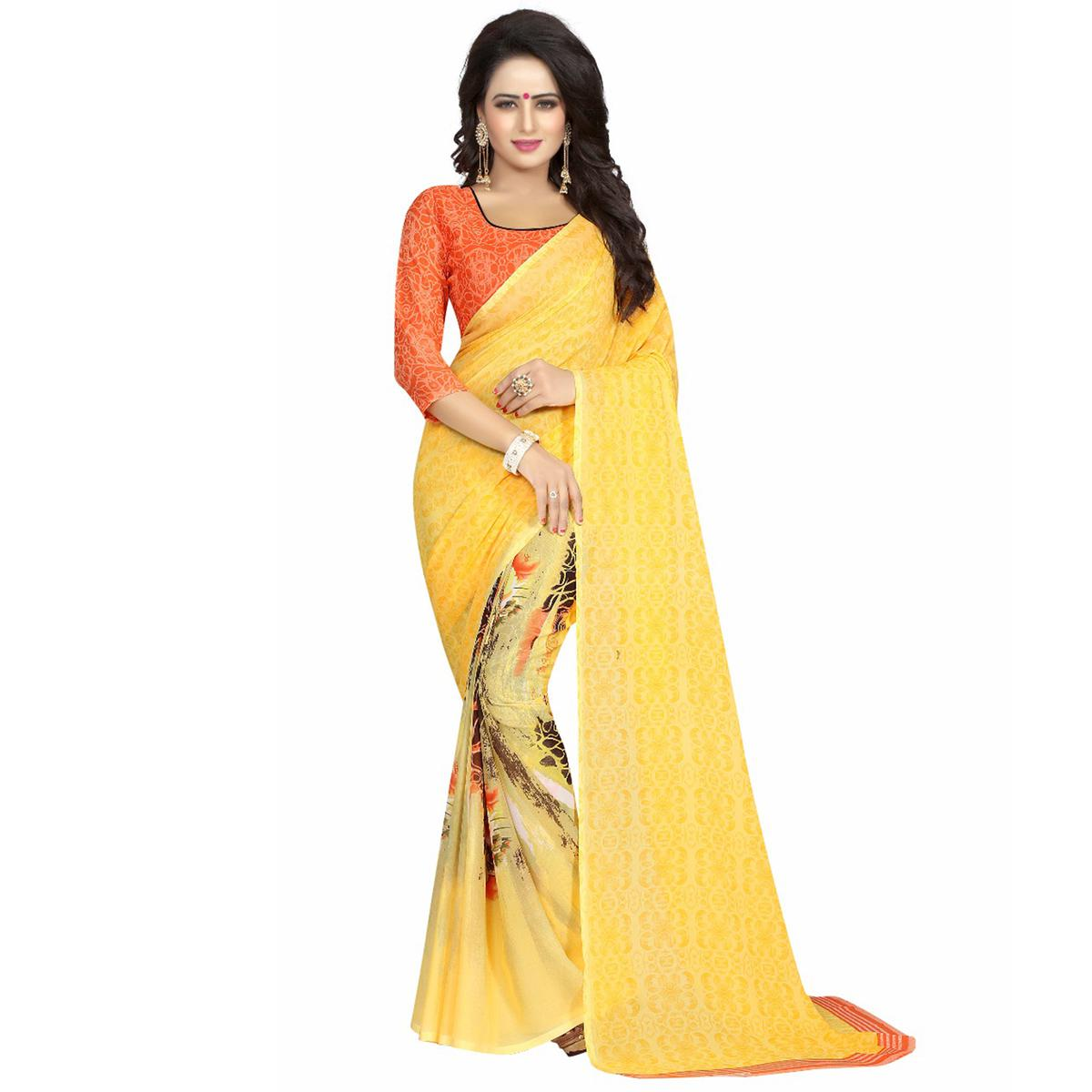 Yellow Casual Wear Printed Georgette Saree