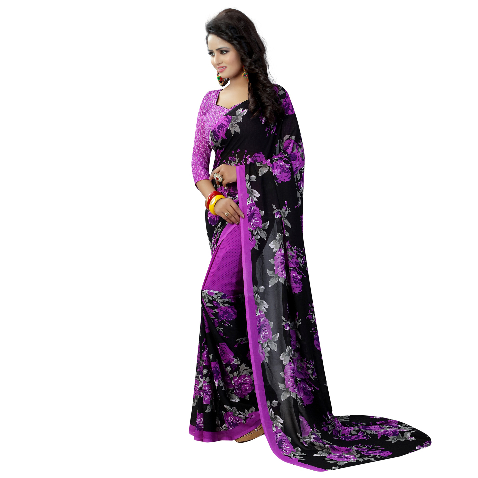 Black-Purple Casual Wear Printed Georgette Saree