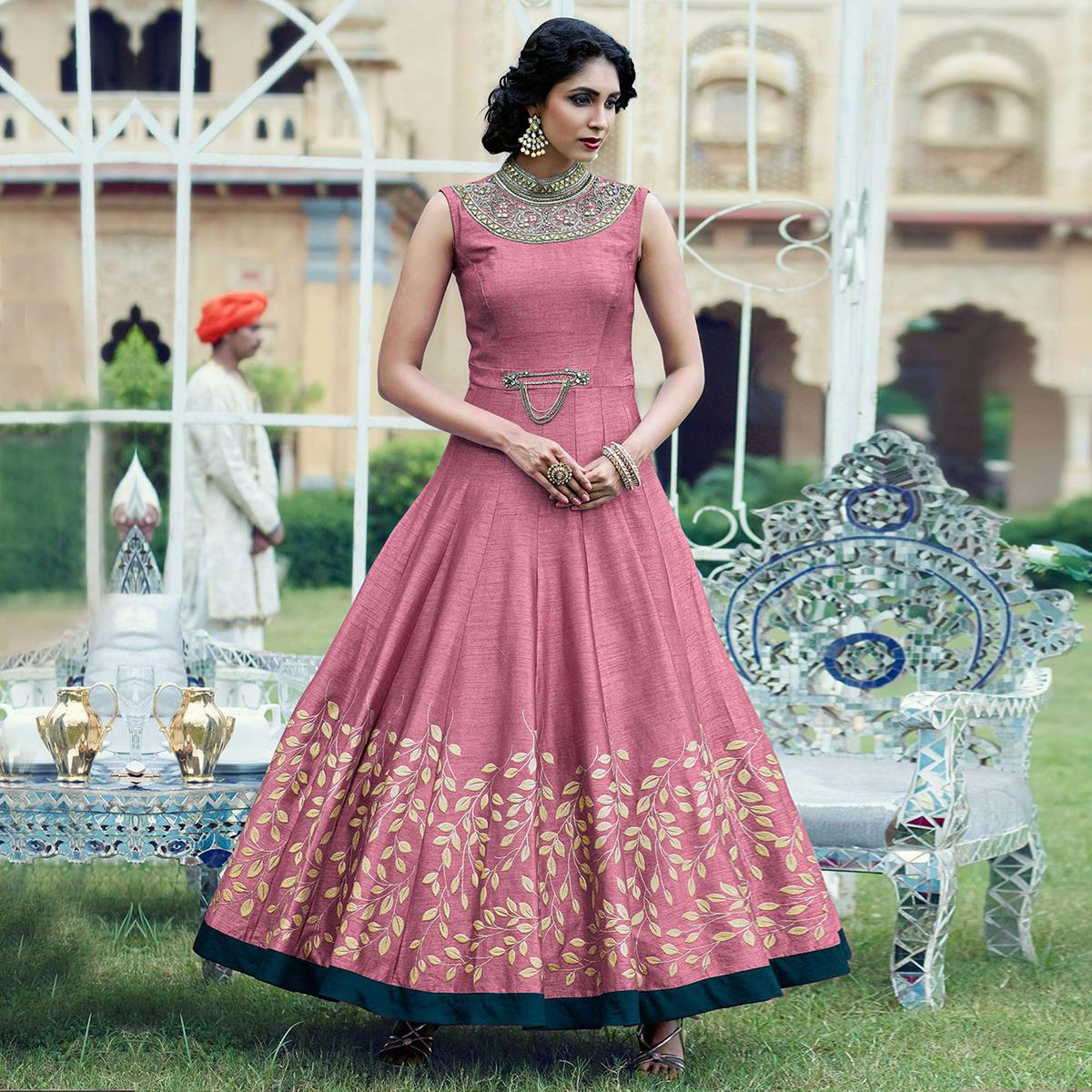 556b0c8ba Graceful Dark Pink Designer Partywear Hand Embroidered And Printed Senorita  (Art Silk) Gown