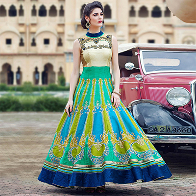 Stunning Multi Colored Designer Partywear Hand Embroidered And Printed Senorita (Art Silk) Gown