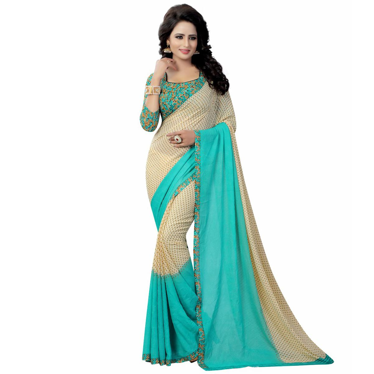 Cream-Turquoise Casual Wear Printed Georgette Saree