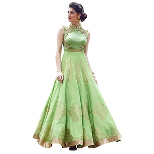 Stunning Light Green Designer Partywear Hand Embroidered And Printed Senorita (Art Silk) Gown