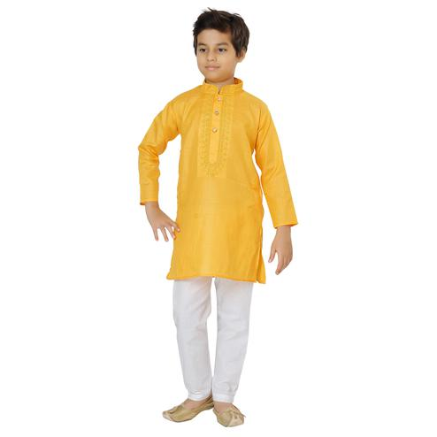 Shree Shubh - Yellow Colored Ethnic Wear Cotton Kurta Payjama Set For Boys