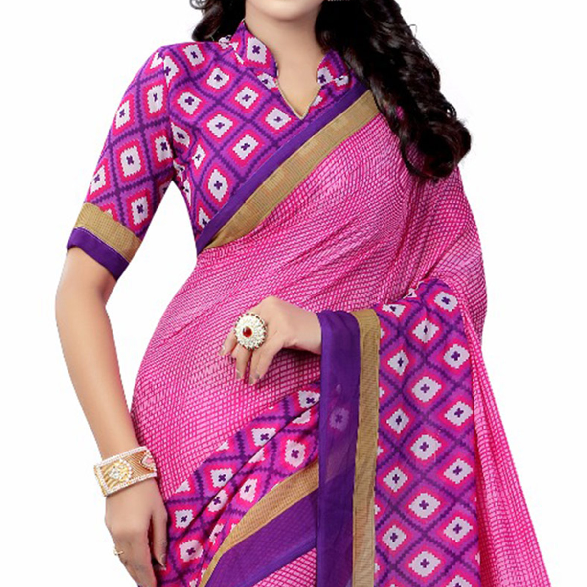 Pink-Purple Casual Wear Printed Georgette Saree