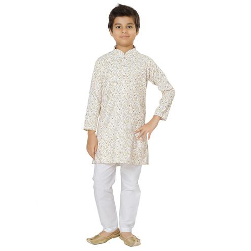 Shree Shubh - Golden Colored Ethnic Wear Cotton Kurta Payjama Set For Boys