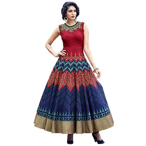 Ravishing Maroon Designer Partywear Hand Embroidered And Printed Senorita (Art Silk) Gown
