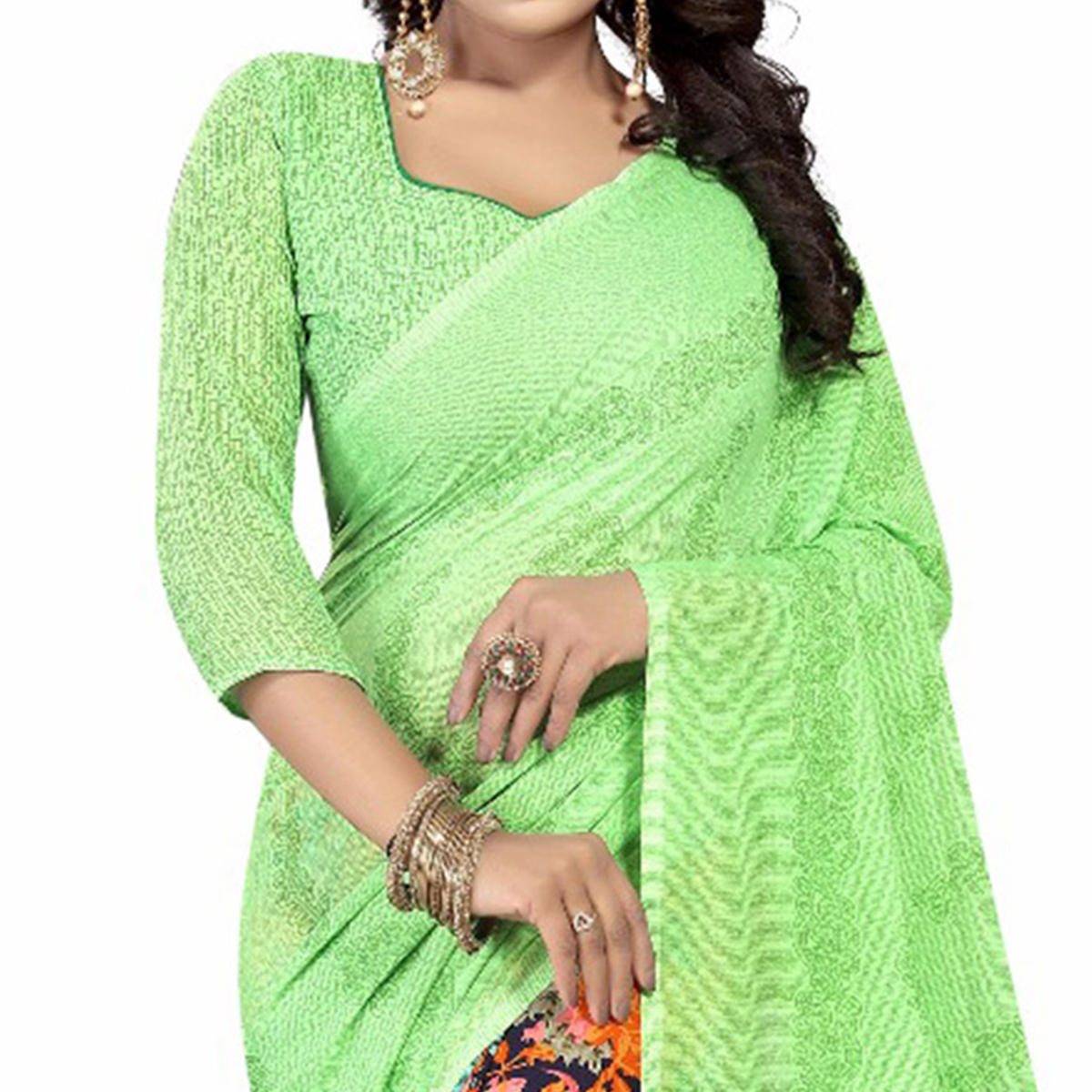 Green-Orange Casual Wear Printed Half And Half Georgette Saree