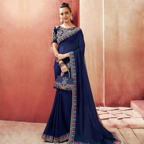 Hypnotic Blue Colored Party Wear Embroidered Chanderi Silk Saree