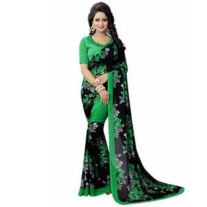 Black-Green Casual Wear Printed Georgette Saree