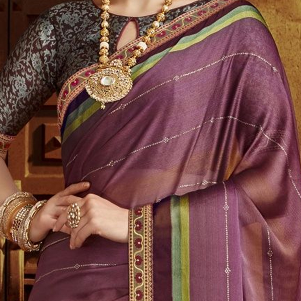 Excellent Purple Colored Party Wear Printed Chiffon Saree