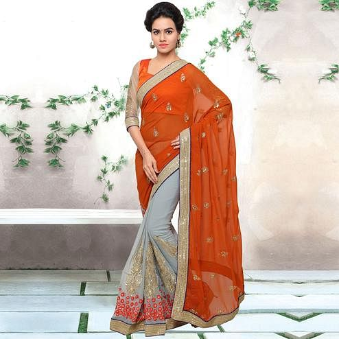 Flaunt Grey-Orange Colored Party Wear Embroidered Jute Silk Half & Half Saree