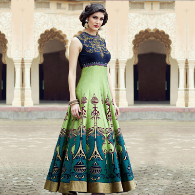 Lovely Blue-Green Colored Designer Partywear Hand Embroidered And Printed Senorita (Art Silk) Gown