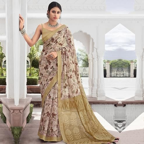 Charming Cream Colored Casual Wear Floral Printed Cotton Saree