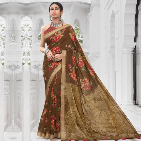 Delightful Brown Colored Casual Wear Floral Printed Cotton Saree