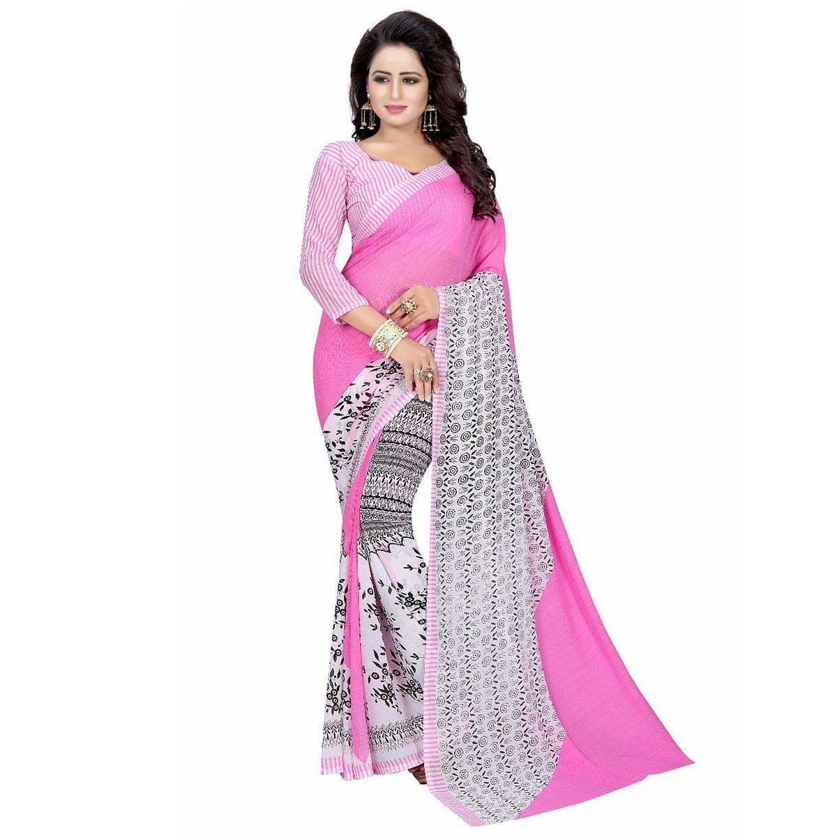 Pink-White Casual Wear Printed Half And Half Georgette Saree