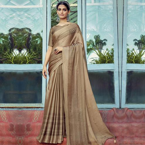 Gorgeous Brown Colored Casual Wear Printed Chiffon Saree