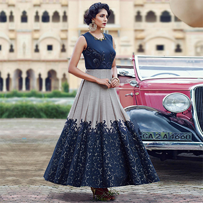 Attractive Navy Blue-Gray Designer Partywear Hand Embroidered And Printed Senorita (Art Silk) Gown