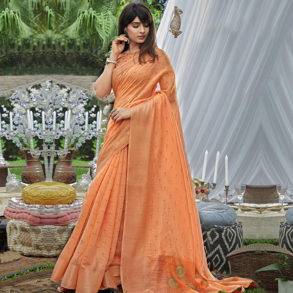 Ethnic Peach Colored Festive Wear Printed Cotton Saree With Tassels