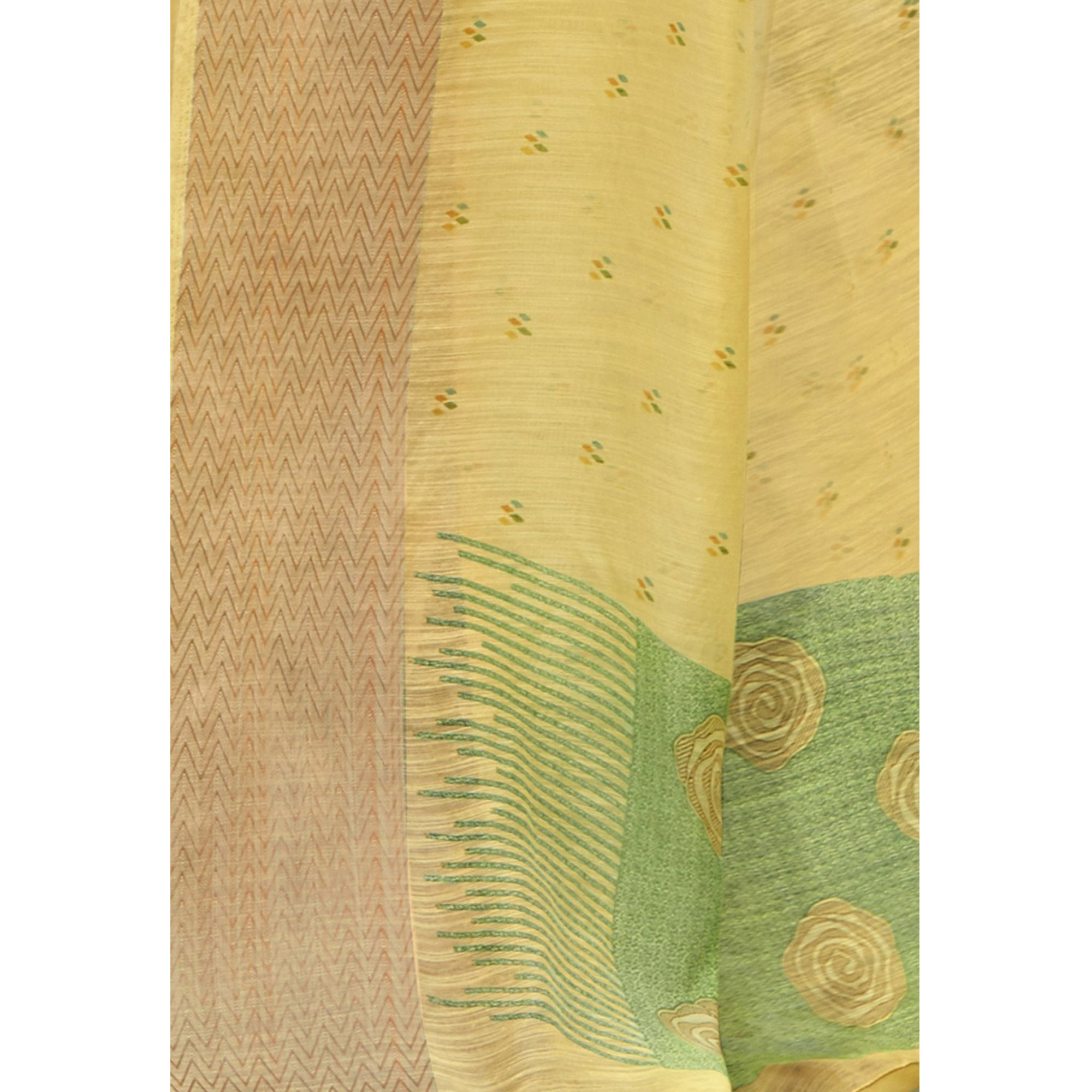 Staring Yellow Colored Festive Wear Printed Cotton Saree With Tassels