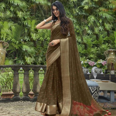 Dazzling Brown Colored Festive Wear Printed Cotton Saree With Tassels