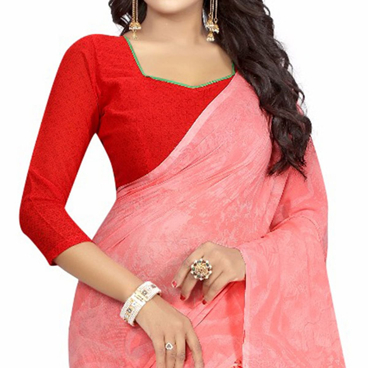 Peach Casual Wear Printed Half And Half Georgette Saree