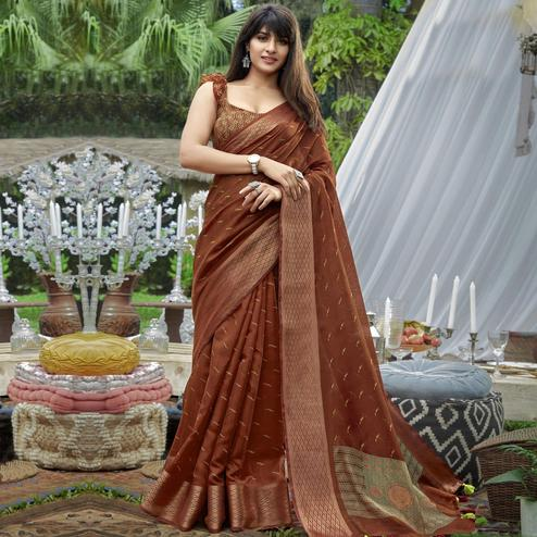 Classy Brown Colored Festive Wear Printed Cotton Saree With Tassels
