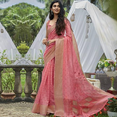Appealing Pink Colored Festive Wear Printed Cotton Saree With Tassels