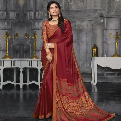 Capricious Red Colored Casual Wear Printed Chiffon Saree