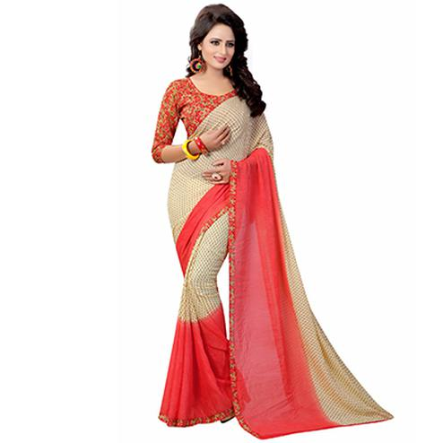 Beige-Red Casual Wear Printed Georgette Saree
