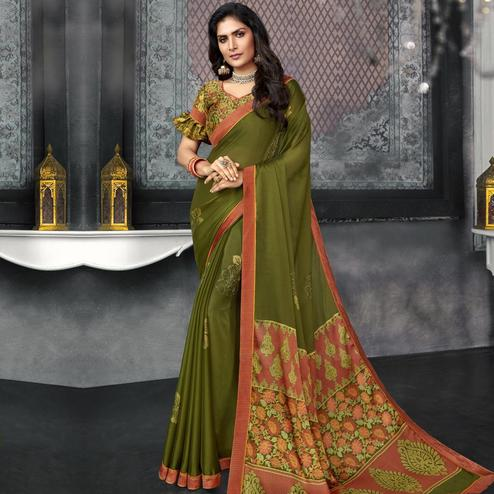 Preferable Green Colored Casual Wear Printed Chiffon Saree