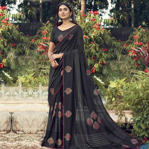 Sensational Black Colored Party Wear Printed Chanderi Silk Saree With Tassels