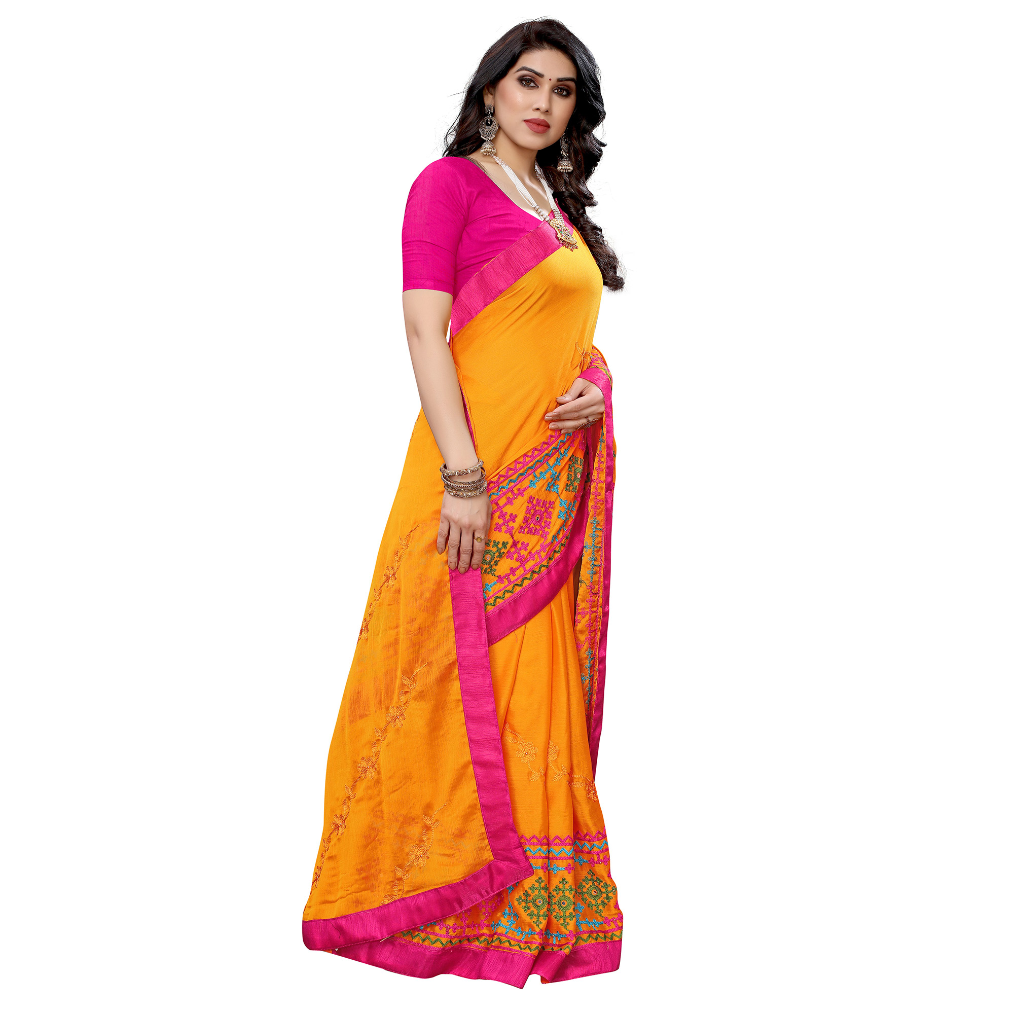Energetic Orange Colored Party Wear Embroidered Chiffon Saree