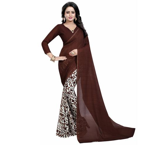 Brown-White Casual Wear Printed Half And Half Georgette Saree