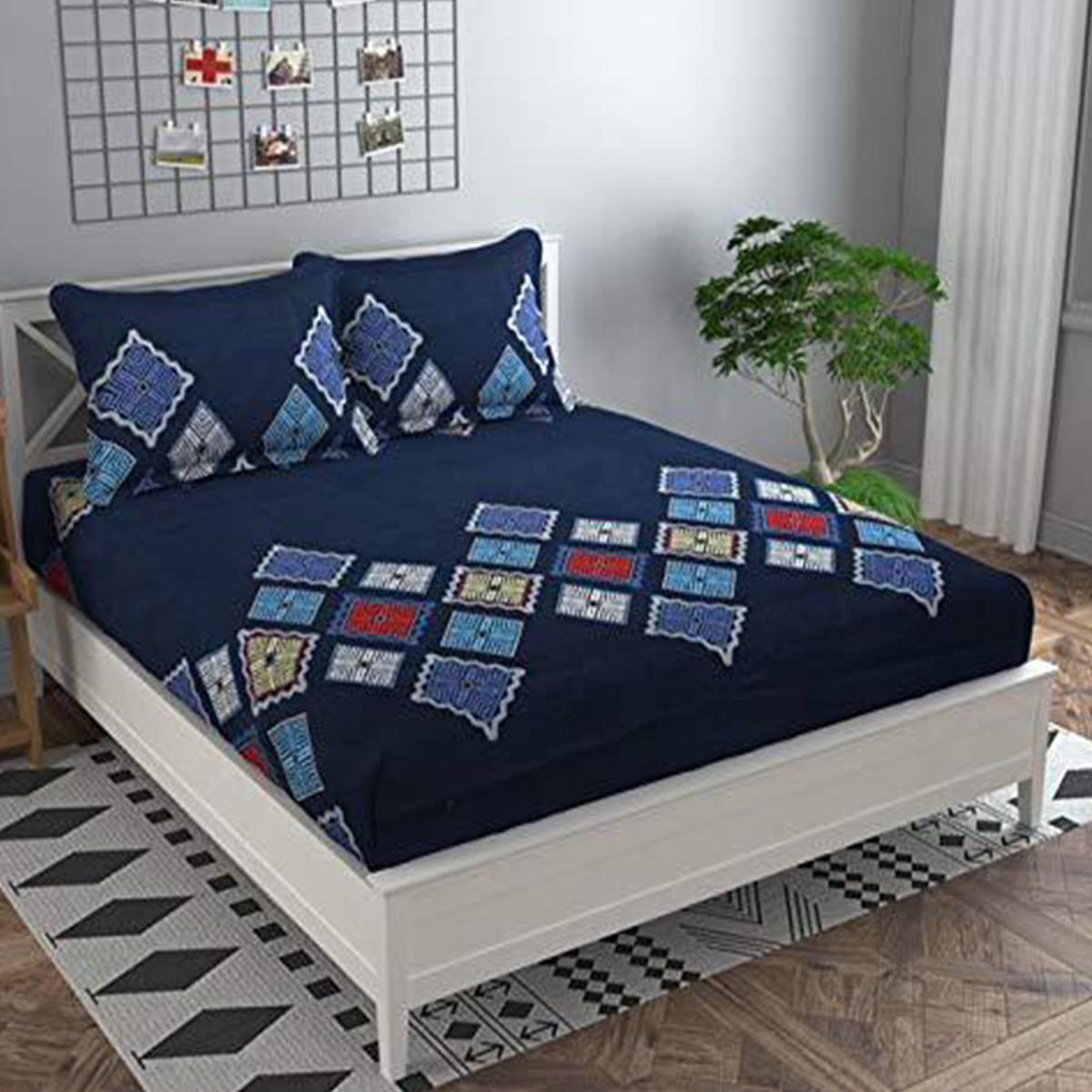 Adirav - Blue Colored Printed Cotton King Double Bedsheet With 2 Pillow Cover