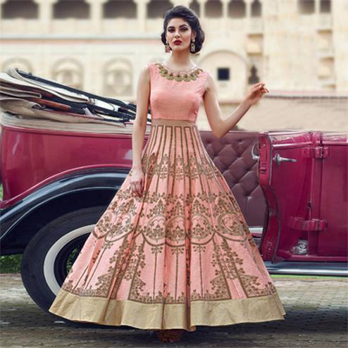 Charming Peach Colored Designer Partywear Hand Embroidered And Printed Senorita (Art Silk) Gown