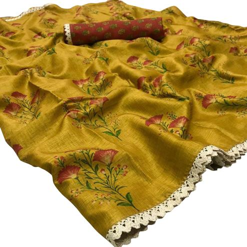 Jazzy Yellow Colored Festive Wear Printed Manipuri Silk Saree