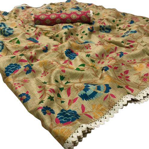 Delightful Beige Colored Festive Wear Printed Manipuri Silk Saree
