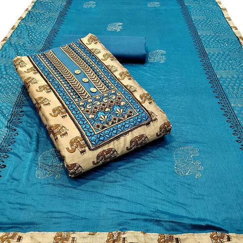Pleasant Beige - Blue Colored Partywear Embroidered Khadi Cotton Dress Material