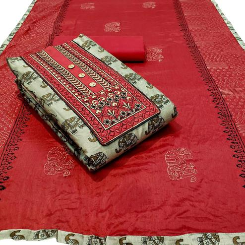 Energetic Beige - Red Colored Partywear Embroidered Khadi Cotton Dress Material