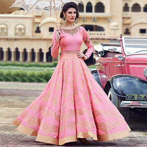 Dazzling Pink Designer Partywear Hand Embroidered And Printed Senorita (Art Silk) Gown