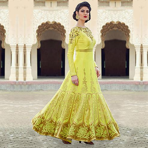 Adorable Lemon Yellow Colored Designer Partywear Hand Embroidered And Printed Senorita (Art Silk) Go