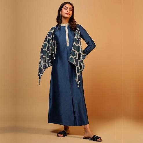 Appealing Navy Blue Colored Party Wear Solid Silk Long Kurti