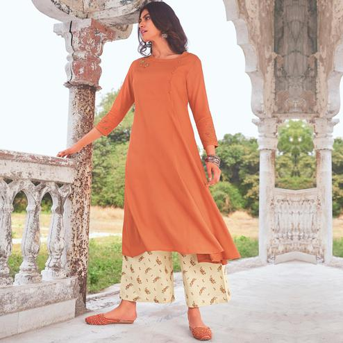 Elegant Peach Colored Party Wear Embroidered Cotton Kurti-Palazzo Set